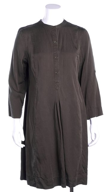 EILEEN FISHER Army Green Button Down Pocket Front Shift Dress