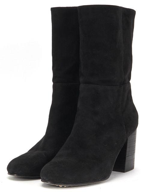 EILEEN FISHER Black Suede Cinch Mid-Calf Stacked Heel Boots