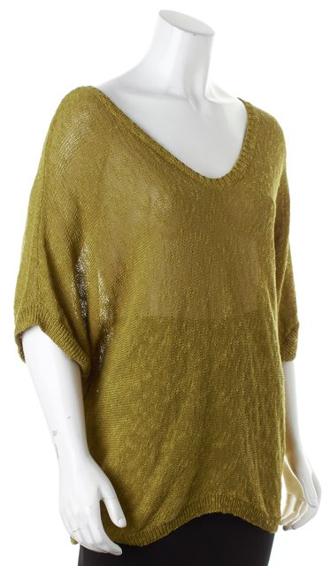 EILEEN FISHER Pea Green Linen V-Neck Oversized Knit Top