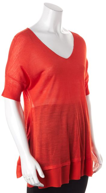 EILEEN FISHER Orange Silk Short Sleeve Semi Sheer V-Neck Knit Top