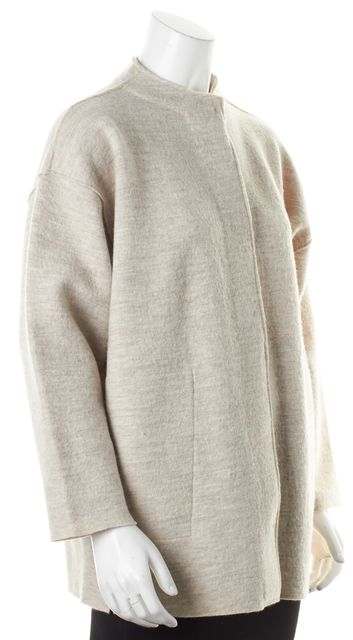 EILEEN FISHER Beige Wool Button Front Sweater Coats