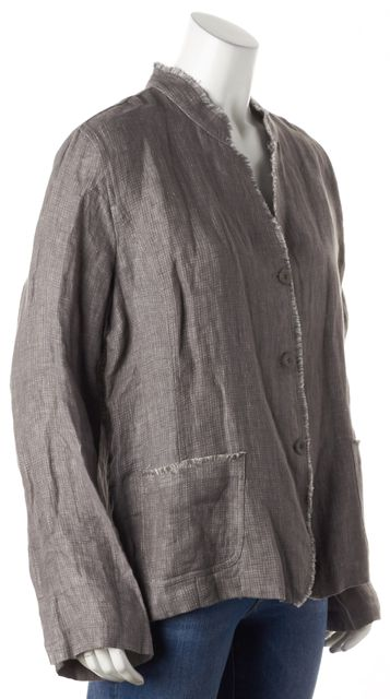 EILEEN FISHER Gray Irish Linen Open Jacket