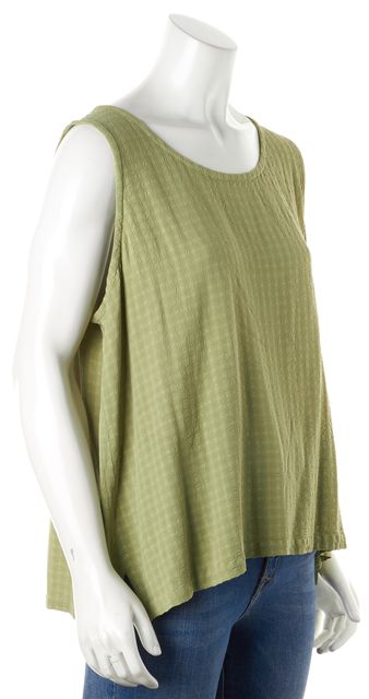EILEEN FISHER Green Textured Sleeveless Top