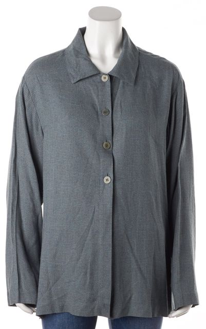 EILEEN FISHER Green Button Down Shirt Top