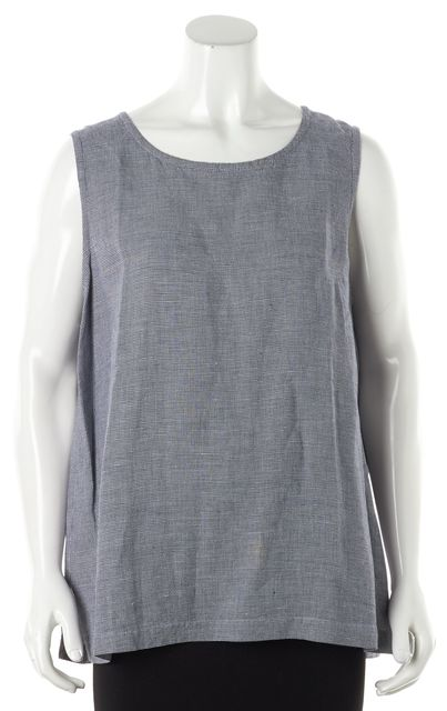 EILEEN FISHER Blue White Linen Houndstooth Sleeveless Top