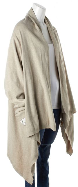 EILEEN FISHER Heather Beige Open Cardigan Sweater