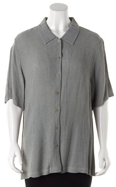 EILEEN FISHER Green Button Down Shirt Top