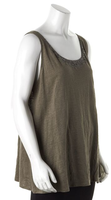 EILEEN FISHER Brown Sequin Embellished Linen Tank Top