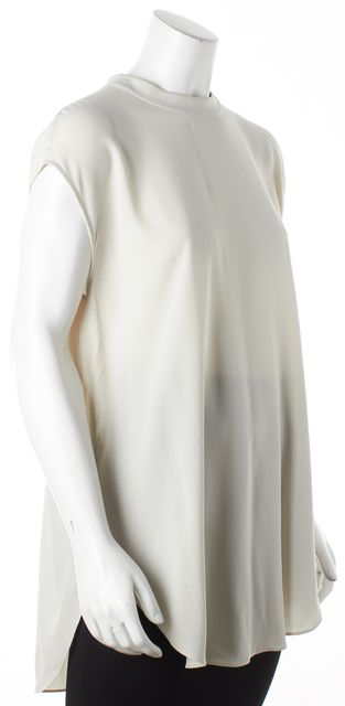 EILEEN FISHER Light Gray Textured Silk Sleeveless Oversized Blouse