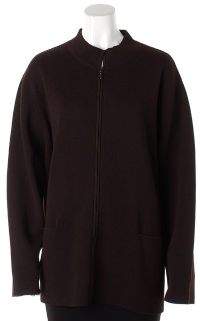 EILEEN FISHER Chocolate Brown Wool Full Zip Sweater Jacket