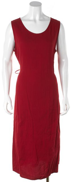 EILEEN FISHER Red Sleeveless Cotton Maxi Dress