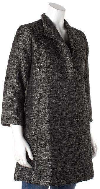 EILEEN FISHER Black Gold Abstract Buttonless Back Slit Blazer