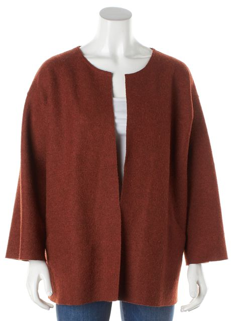 EILEEN FISHER Orange Wool Open Jacket