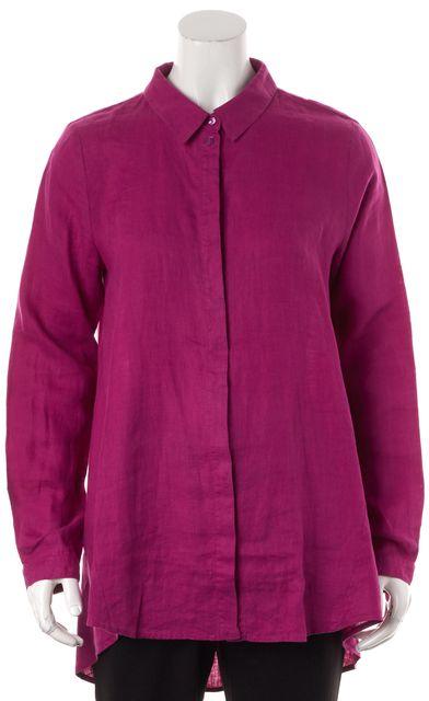 EILEEN FISHER Magenta Pink Linen Button Down Blouse