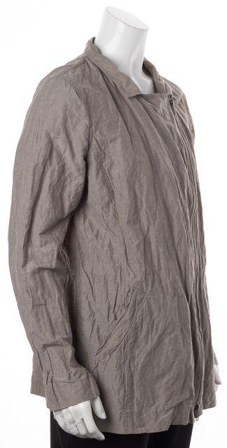 EILEEN FISHER Mushroom Beige Asymmetrical Zipper Jacket Size Sizing Tag Missing