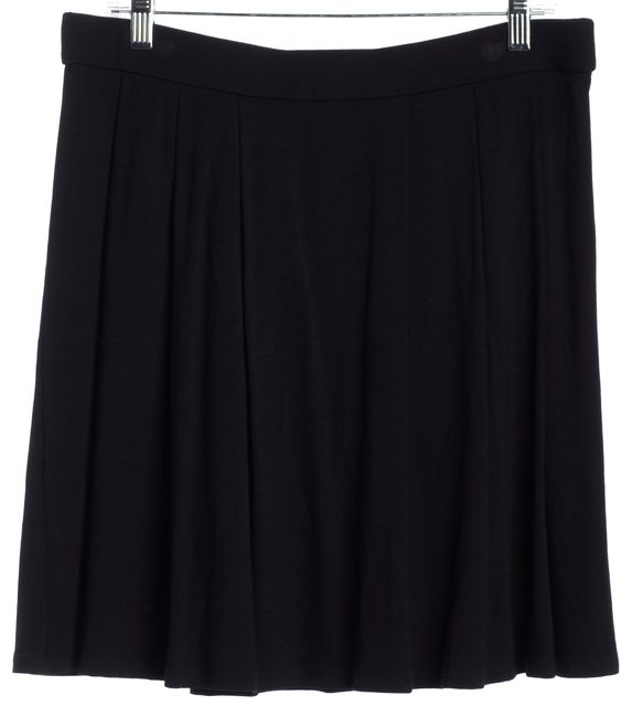 EILEEN FISHER Black Pleated Stretch Flare Knee-Length Skirt