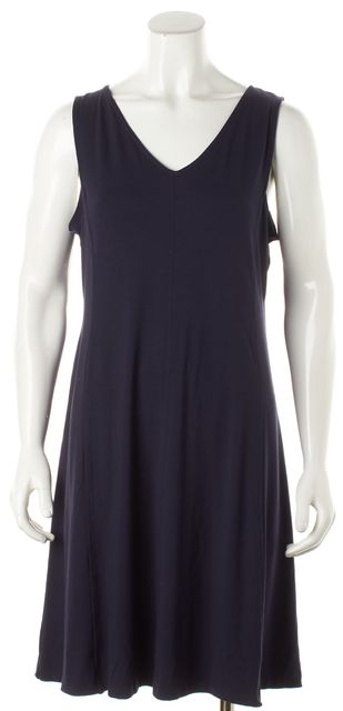 EILEEN FISHER Blue Jersey V-neck Sleeveless Stretch Dress