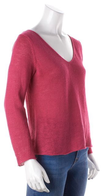 EILEEN FISHER Pink Long Sleeve V-Neck Sweater