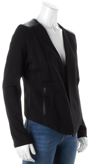 EILEEN FISHER Black Long Sleeve Leather Trim Blazer