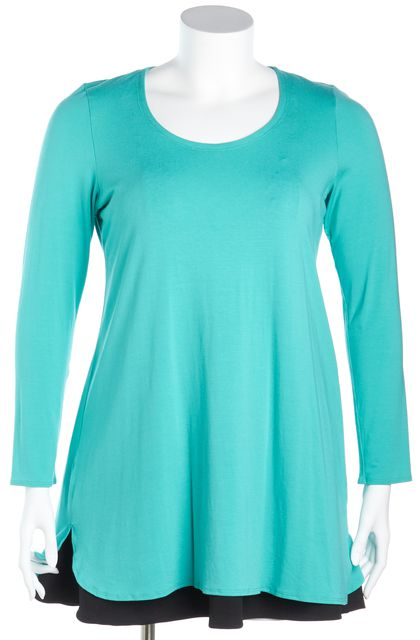 EILEEN FISHER Turquoise Blue Long-Sleeve Tunic Top