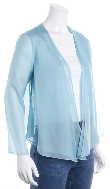 EILEEN FISHER Blue Silk Kimono Styled Top
