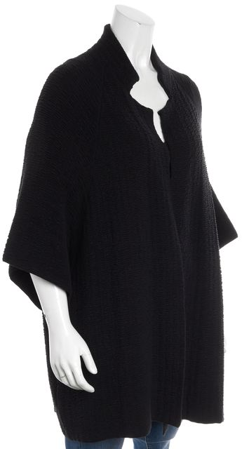 EILEEN FISHER Black Textured Knit Silk Open Oversized Sweater Jacket
