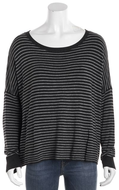 EILEEN FISHER Gray Striped Knit Top