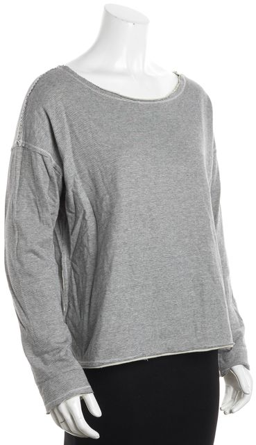 EILEEN FISHER Gray Striped Boat Neck Sweater