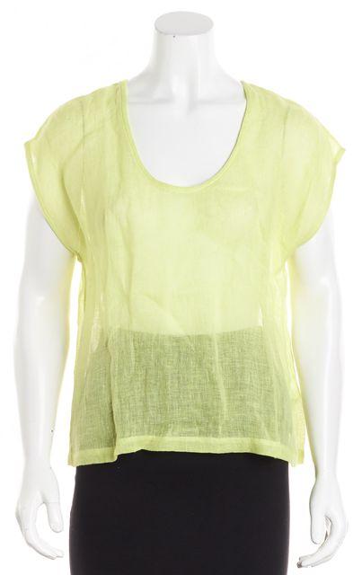 EILEEN FISHER Green Sheer Linen Blouse Top