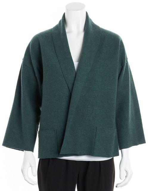 EILEEN FISHER Hunter Green Open Drape Front Cardigan Sweater