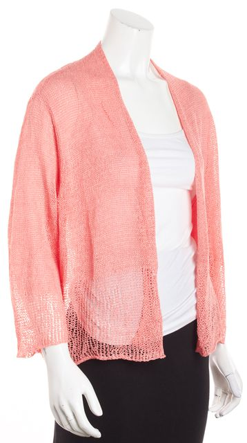EILEEN FISHER Pink Linen Long Sleeve Shrug Jacket