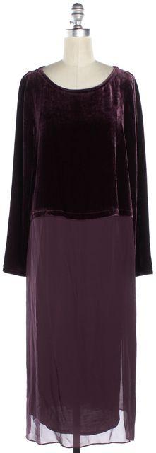 EILEEN FISHER Purple Long Sleeve Ballet Neck Velvet Duster Dress
