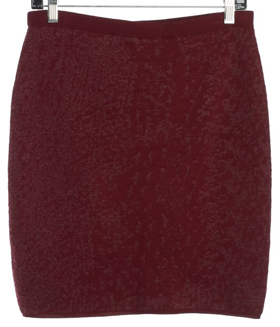 EILEEN FISHER Red Wool Pencil Mini Stretch Knit Skirt