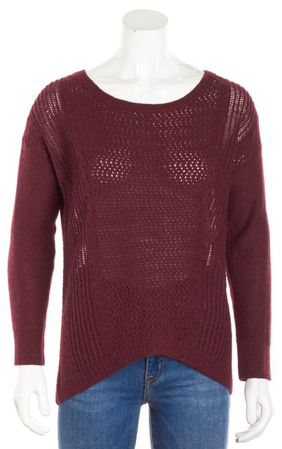 EILEEN FISHER Red Alpaca Open Knit Crewneck Sweater