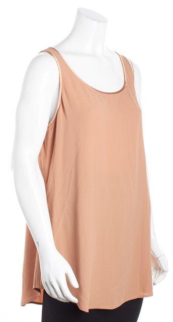 EILEEN FISHER Nude Peach Pink Silk Satin Trim Sleeveless Long Blouse Top