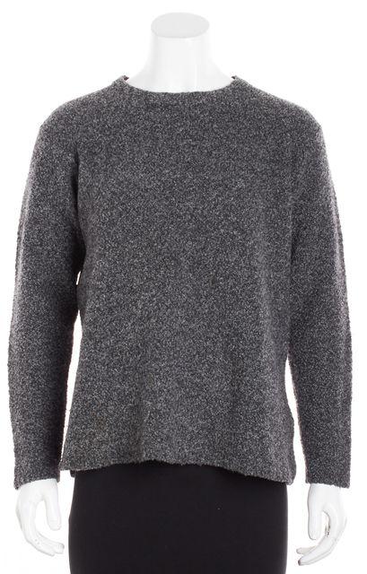 EILEEN FISHER Gray Marled Wool Crewneck Sweater