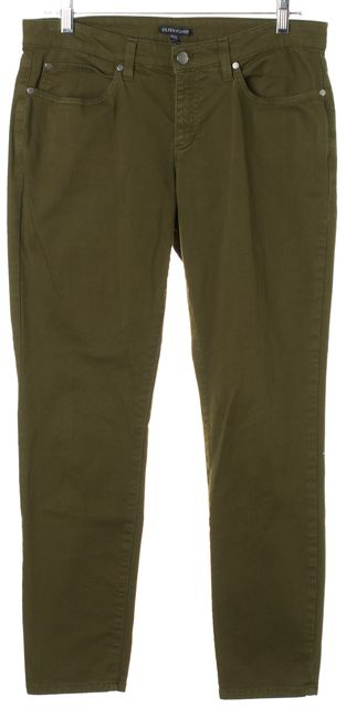 EILEEN FISHER Moss Green Mid-Rise Skinny Ankle Crop Jeans