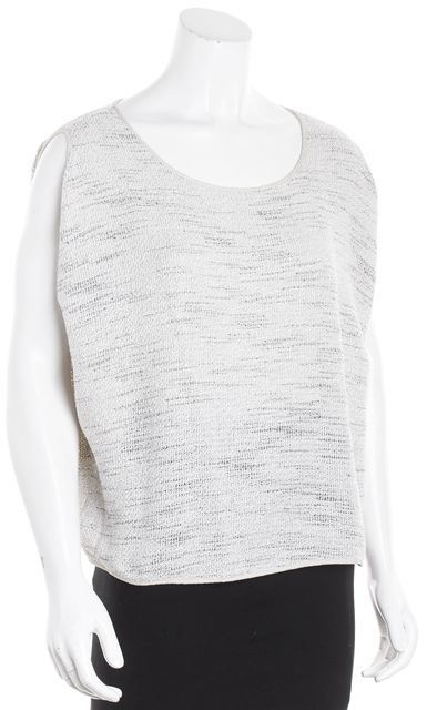 EILEEN FISHER White-Gray Marled Knit Tank Top