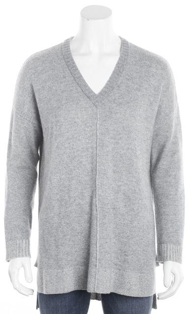 EILEEN FISHER Light Gray Tunic V-Neck Sweater