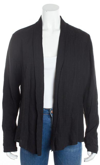EILEEN FISHER Black Lightweight Linen Blend Open Jacket