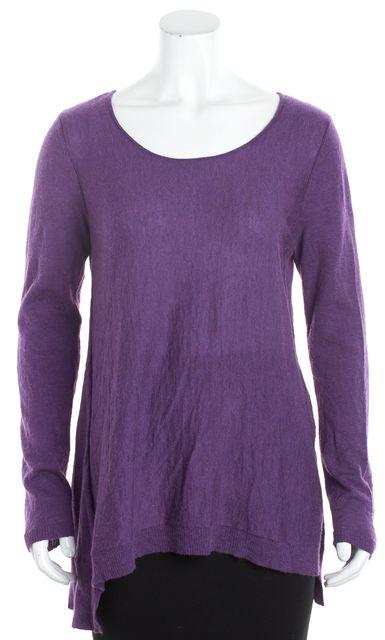 EILEEN FISHER Purple Boat Neck Long Sleeve Sweater