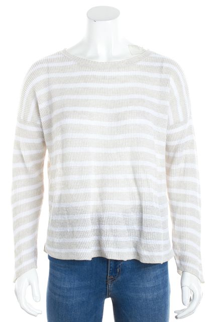 EILEEN FISHER Beige White Striped Linen Crewneck Sweater