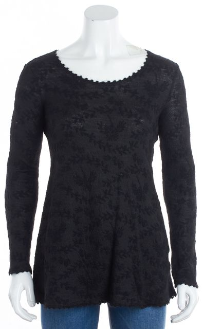 EILEEN FISHER Black Crewneck Long Sleeve Sweater