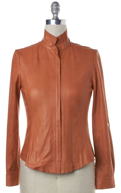 ELIE TAHARI Orange Leather Zip Front Jacket