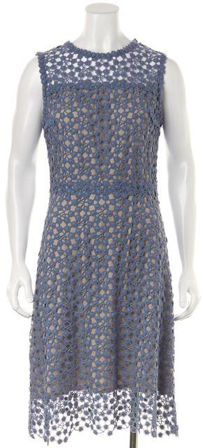 ELIE TAHARI Blue Cotton Lace Gray Underlay Sleeveless Sheath Midi Dress
