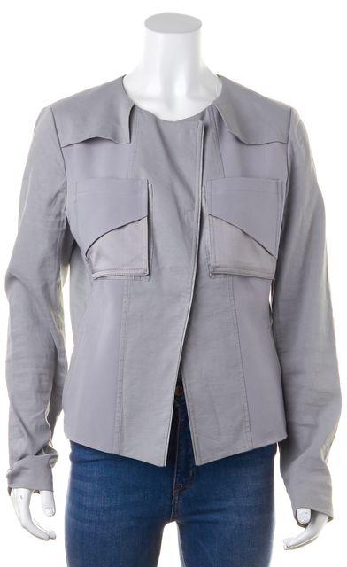 ELIE TAHARI Gray Pocket Linen Basic Jacket