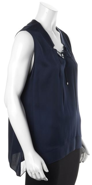 ELIE TAHARI Blue Silk Front Tied Sleeveless Blouse Top
