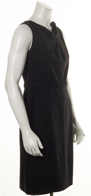 ELIE TAHARI Black Wool Sleeveless Knee-Length Sheath Dress