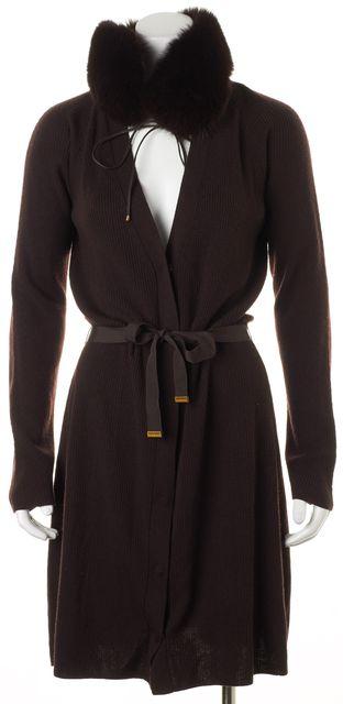 ELIE TAHARI Brown Wool Rib Knit Fox Fur Collar Cardigan Sweater