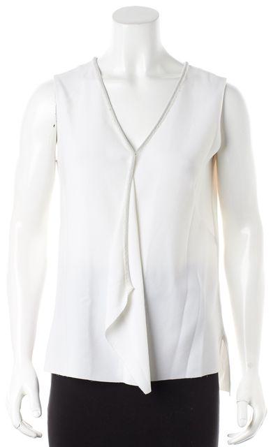 ELIE TAHARI Frayed Trim V-Neck White Casual Blouse